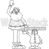 Clipart of a Cartoon Black and White Lineart Christmas Santa Claus Holding a Boy's Hand and Waving - Royalty Free Vector Illustration © Dennis Cox #1434248