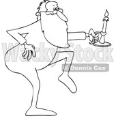 Clipart of a Cartoon Black and White Lineart Christmas Santa Claus Tip Toeing in His Pajamas, Holding a Candlestick - Royalty Free Vector Illustration © Dennis Cox #1434251