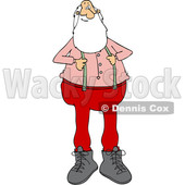 Clipart of a Cartoon Christmas Santa Claus Pulling on His Suspenders - Royalty Free Vector Illustration © djart #1434253