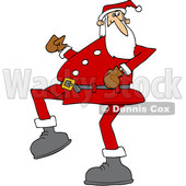 Clipart of a Cartoon Christmas Santa Claus Strutting - Royalty Free Vector Illustration © djart #1434254