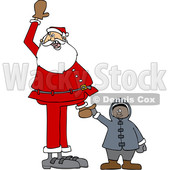 Clipart of a Cartoon Christmas Santa Claus Holding Hands with a Black Boy - Royalty Free Vector Illustration © djart #1434535