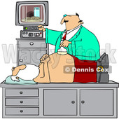 Clipart of a Doctor Giving Santa Claus an Ultrasound on His Belly and Seeing Cookies and Milk on the Screen - Royalty Free Vector Illustration © Dennis Cox #1434536