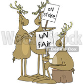 Clipart of a Cartoon Groupof Christmas Reindeer on Strike - Royalty Free Vector Illustration © djart #1437931