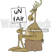 Clipart of a Cartoon Christmas Reindeer on Strike, Sitting on a Stump with an Unfair Sign - Royalty Free Vector Illustration © djart #1437935