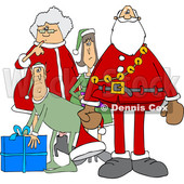 Clipart of a Cartoon Christmas Santa Claus with the Mrs and Elves - Royalty Free Vector Illustration © Dennis Cox #1437936