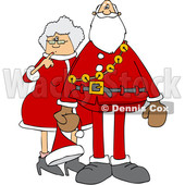 Clipart of a Cartoon Christmas Santa Claus with the Mrs - Royalty Free Vector Illustration © Dennis Cox #1437937