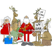 Clipart of a Cartoon Christmas Santa Claus with the Mrs, Elves and Protesting Reindeer - Royalty Free Vector Illustration © Dennis Cox #1437938