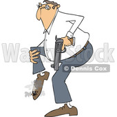 Clipart of a Cartoon White Man Shooting Himself in the Foot - Royalty Free Vector Illustration © djart #1440602