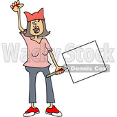 Clipart of a Cartoon Angry White Woman Shouting, Wearing a Pink Pussy Hat and Holding a Blank Sign at the Womens March - Royalty Free Vector Illustration © djart #1442125
