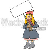 Clipart of a Cartoon Angry White Woman Wearing a Pink Pussy Hat and Holding a Blank Sign at the Womens March - Royalty Free Vector Illustration © djart #1442127