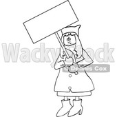Clipart of a Cartoon Black and White Lineart Angry Woman Wearing a Pussy Hat and Holding a Blank Sign at the Womens March - Royalty Free Vector Illustration © djart #1442130