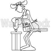 Clipart of a Cartoon Black and White Lineart Moose Operating a Power Drill in a Shop - Royalty Free Vector Illustration © djart #1442131