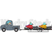 Clipart of a Cartoon Caucasian Man Driving a Truck and Towing Snowmobiles on a Trailer - Royalty Free Vector Illustration © Dennis Cox #1443243