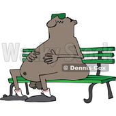 Clipart of a Cartoon Chubby Nude Black Man Wearing Sunglasses and Sitting on a Park Bench - Royalty Free Vector Illustration © djart #1443256