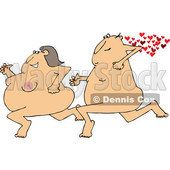 Clipart of a Cartoon Streaking Chubby Nude White Man Chasing a Woman, with Hearts - Royalty Free Vector Illustration © Dennis Cox #1443257