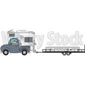 Clipart of a Cartoon Caucasian Man Driving a Truck and Camper and Towing a Trailer - Royalty Free Vector Illustration © Dennis Cox #1443259