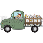 Clipart of a Cartoon White Man Driving a Green Pickup Truck and Hauling Turkeys - Royalty Free Vector Illustration © djart #1443264