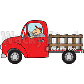 Clipart of a Cartoon White Man Driving a Red Pickup Truck with a Stakeside Trailer - Royalty Free Vector Illustration © djart #1443265