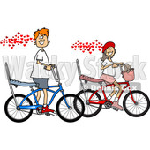Clipart of a Cartoon in Love Caucasian Boy and Girl Riding Bikes with Hearts - Royalty Free Vector Illustration © djart #1443269