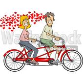 Clipart of a Cartoon in Love Caucasian Couple Riding a Tandem Bike with Hearts - Royalty Free Vector Illustration © djart #1443270