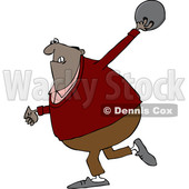 Clipart of a Cartoon Black Man Bowling - Royalty Free Vector Illustration © djart #1443271