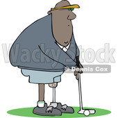 Clipart of a Cartoon Black Man Amputee Golfing - Royalty Free Vector Illustration © djart #1443272