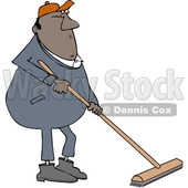 Clipart of a Cartoon Chubby Black Worker Man Using a Push Broom - Royalty Free Vector Illustration © djart #1443274