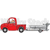 Clipart of a Caucasian Man Driving a Red Pickup Truck and Hauling a Boat - Royalty Free Vector Illustration © djart #1443724