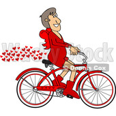 Clipart of a Cartoon Valentines Day Cupid Riding a Bicycle with a Trail of Love Hearts - Royalty Free Vector Illustration © Dennis Cox #1443975