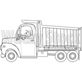 Clipart of a Cartoon Black and White Lineart Man Driving a Dump Truck - Royalty Free Vector Illustration © djart #1443976