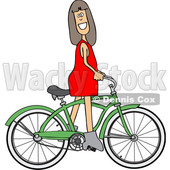 Clipart of a Cartoon Caucasian Girl Riding a Green Bike - Royalty Free Vector Illustration © djart #1443979