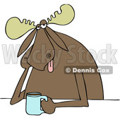 Clipart of a Cartoon Depressed Moose Sitting with a Cup of Coffee - Royalty Free Vector Illustration © djart #1444404