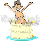 Clipart of a Cartoon Nude White Woman Popping out of a Birthday Cake - Royalty Free Vector Illustration © Dennis Cox #1444942