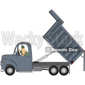 Clipart of a Cartoon Caucasian Man Backing up and Operating a Hydraulic Dump Truck - Royalty Free Vector Illustration © djart #1446373