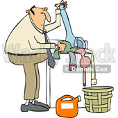 Clipart of a Cartoon Chubby White Man Doing Laundry - Royalty Free Vector Illustration © djart #1446750