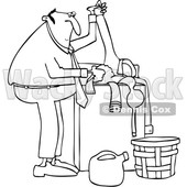Clipart of a Cartoon Black and White Lineart Chubby Man Doing Laundry - Royalty Free Vector Illustration © djart #1446751