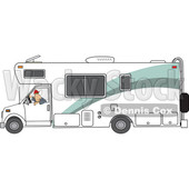 Clipart of a Cartoon White Man Backing up a Class C Motorhome - Royalty Free Vector Illustration © djart #1446907