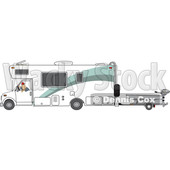 Clipart of a Cartoon White Man Backing up a Class C Motorhome and Towing a Boat - Royalty Free Vector Illustration © Dennis Cox #1446908