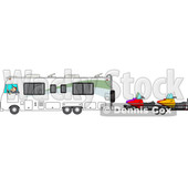 Clipart of a Cartoon White Man Driving a Motorhome and Towing Snowmobiles| Royalty Free Vector Illustration © Dennis Cox #1446911