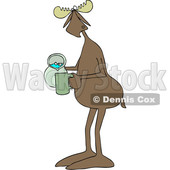 Clipart of a Cartoon Moose Pouring a Drink from a Pitcher - Royalty Free Vector Illustration © djart #1446913