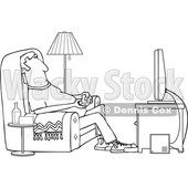 Clipart of a Cartoon Black and White Lineart Man Paying Video Games in His Living Room - Royalty Free Vector Illustration © Dennis Cox #1448293