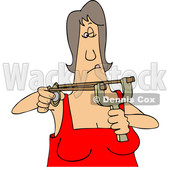 Clipart of a Cartoon White Woman Aiming a Sling Shot - Royalty Free Vector Illustration © djart #1448294