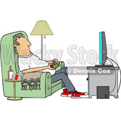 Clipart of a Cartoon Caucasian Man Paying Video Games in His Living Room - Royalty Free Vector Illustration © Dennis Cox #1448296