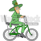 Clipart of a Cartoon St Patricks Day Leprechaun Riding a Bicycle - Royalty Free Vector Illustration © Dennis Cox #1448297