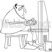 Clipart of a Cartoon Black and White Lineart Chubby Man Playing Video Games - Royalty Free Vector Illustration © djart #1448469