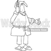 Clipart of a Cartoon Black and White Lineart Man Talking Through a Shoe As if It Were a Telephone - Royalty Free Vector Illustration © Dennis Cox #1448470