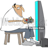 Clipart of a Cartoon Chubby White Man Playing Video Games - Royalty Free Vector Illustration © djart #1448475