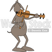 Clipart of a Cartoon Dog Musician Playing a Violin - Royalty Free Vector Illustration © djart #1448477