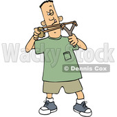 Clipart of a Cartoon White Boy Aiming a Slingshot - Royalty Free Vector Illustration © djart #1448478