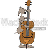 Clipart of a Cartoon Dog Musician Playing a Double Bass - Royalty Free Vector Illustration © djart #1448479